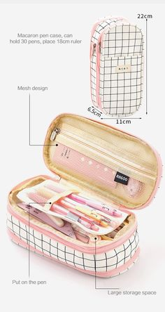 Aesthetic Check Pencil Cases in 2020 (With images) Stationary School, Cute Stationary, School Stationery, Stationary Design, Stationary Supplies, Stationery Pens, School Pencil Case, Cute Pencil Case, Middle School Supplies