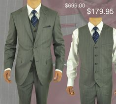 Comfortable Fit and Cut, Canvas Front, Notch Lapel  Gino Valentino 3 Piece Men's Suit 2 Button Jacket Vested Gray Stripe Grey http://www.menssuithabit.com/men-suits-clothing/vested-3-4-piece-suits.html