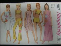 1960's Simplicity Pattern 7017 Misses' One-Piece Dress In Two Lengths, Top, hip-Hugger Bell-Bottom Pants, Shorts - Transfer Included Sizes12 by ElliesStudio1 on Etsy