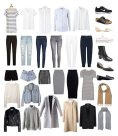 minimal + chic capsule wardrobe by jackie-perreira on Polyvore featuring Alice + Olivia, Uniqlo, Karl Lagerfeld, Tommy Hilfiger, Carven, MANTU, 2nd Day, American Apparel, Mauro Grifoni and macgraw