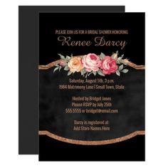 #glitter - #Wedding Bridal Shower | Floral Glitter Chalkboard Card