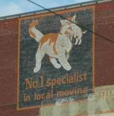 Ad for moving company on building - Cat and kitten - これは…クロネコヤマトのパクリでは…