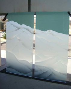 shower glass frosted etched mountain ranges mountains