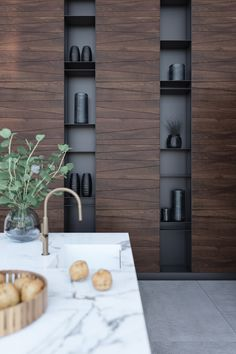 Wood panelling on kitchen with Trapezium Wooden Panelling, Wooden Wall Panels, Wood Panel Walls, Wooden Walls, Wooden Wall Design, Wood Wall Paneling, Concrete Wall Panels, Office Interior Design, Interior Walls