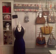 Closet mannequin, purses on a slat board