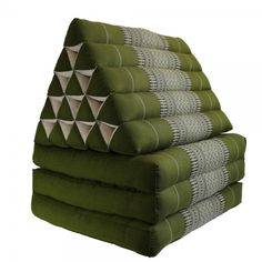 Thai Triangle Pillow Cushion Fold Out Day Bed Three Fold Jumbo Size Green
