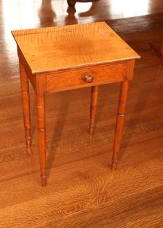 """19thC Single drawer work stand with tiger maple top and Birdseye maple veneered face, turned legs, wood pull and dovetail construction. 16.5""""x14""""x27""""T."""