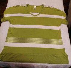 Thomas & Olivia Green and White Striped Short Sleeve V-Neck Blouse Size PL New