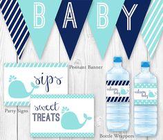Paquete para ducha bebé de ballena azul y por HauteChocolateFavors