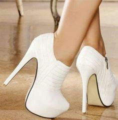 All white boot heels