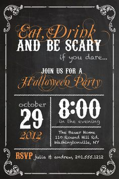 Items similar to EAT DRINK and be SCARY Halloween Party Invitation - Printable digital file or printed invitations on Etsy Halloween 2014, Halloween Birthday, Holidays Halloween, Scary Halloween, Happy Halloween, Classy Halloween, Halloween Ideas, Halloween Decorations, Vintage Halloween