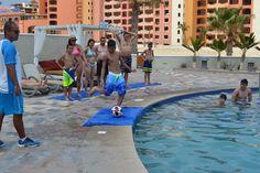 Our guests having fun playing footbol by the pool. #Fun #SandosFinisterra  www.sandos.com  Nuestros huéspedes divirtiéndose jugando fútbol en nuestra alberca #SandosFinisterra #Vacaciones