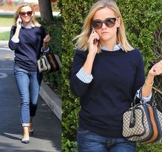 Reese Witherspoon in Navy Sweater, Blue Rockstud Flats and Gucci bag