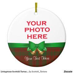 Livingstone Scottish Tartan Christmas Photo Double-Sided Ceramic Round Christmas Ornament