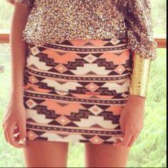 Love Aztec prints. Aztec skirt + sequin top + gold bangles.