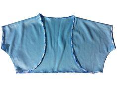 Girls Solid Boleros Shrugs Jacket - Blue White n Wave Stitch