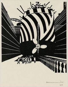 041 Dazzle Camouflage, Ship in Dry Dock by Vorticist artist Edward Wadsworth ▫ 1918