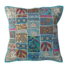 "20"" Inch Blue Multi Vintage Patchwork Throw Sofa Pillow on RoyalFurnish.com, $17.99 #vintage #patchworkpillow #pillow #cushioncover #cushion #indianpillow #throwpillow #tosspillow #sofapillow #pillowcase #pillowsham"