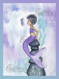 Curls Mermaid Print from Original Watercolor by camillioncreations