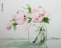 Pink Evening Primrose Original Watercolor Painting Flowers