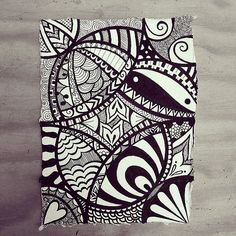 Indian Rag paper zen doodle using micron fineliners. by Wealie, via Flickr: