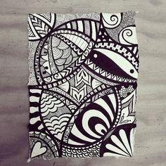 Indian Rag paper zen doodle using micron fineliners. by Wealie, via Flickr: