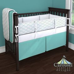 Crib bedding in Solid Teal, Icy Mint Trellis, White Pimatex. Created using the Nursery Designer® by Carousel Designs where you mix and match from hundreds of fabrics to create your own unique baby bedding. #carouseldesigns