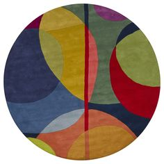 <li>Modern rug is sure to update your home and office decor</li><li>Contemporary rug features geometric linear designs in blue, greens, red, orange and yellow colors</li><li>Round rug is hand-tufted of 100-percent New Zealand wool</li>