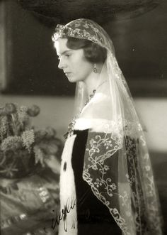 Princess Sibylla, Duchess of Vasterbotten in a traditional swedish courtgown. 1940