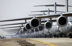 USAF C-17 Globemaster IIIs are lined up waiting upon the commencement of Operation Iraqi Freedom