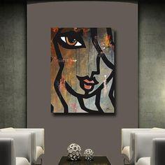 Original Abstract Painting Modern Art Face Print decor by Fidostudio LUCKY 13