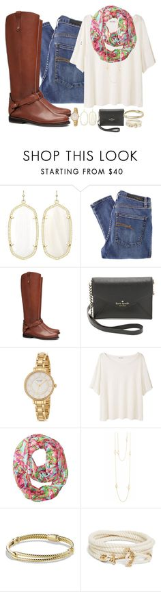 """""""Jude's back!!!!!!!!"""" by classically-kendall ❤ liked on Polyvore featuring Kendra Scott, Nobody Denim, Tory Burch, Kate Spade, Acne Studios, Lilly Pulitzer, Willow & Clo, David Yurman and Brooks Brothers"""