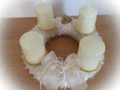 Adventskranz, in Weiß-Gold von Made-by-Gabi auf DaWanda.com