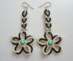 Double Flower cream black earrings tatting by yarnplayer on Etsy