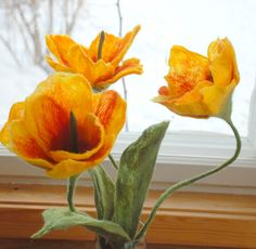 Stunning Felted Flowers ~  Bright Tulips as Home Decor - custom made via Etsy.