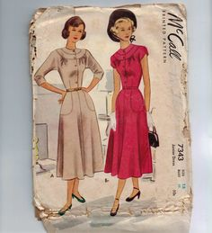 1940s Vintage Sewing Pattern McCall 7343 Juniors Button Front Dress with Stitching Details Size 15 Bust 33 40s 1948
