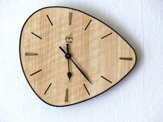 Clock wall vintage Formica freeform - mid century french wall clock