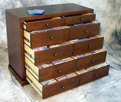 $595 for 3-drawers, 810 cds. metal, choice of 18 colors cd storage