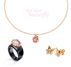 2014 Spring Limited Collection: Rose gold and warm amethyst pendant and ring. Matching Diamond and rose gold butterfly earrings. Charlotte Ehinger-Schwarz 1876