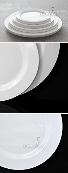 \ OCCASIONS\  Wedding Plastic Plates - Disposable Dinnerware with Silverware for 25 guests - piece set  White with Silver Rim ) & OCCASIONS\