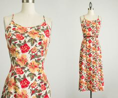 90s Vintage Coral Floral Print Maxi Slip Sun Dress / by decades