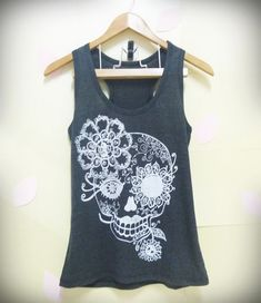 Sale Sugar skull tank top, Vintage flower skull shirt, light BLACK skeleton shirt Women shirt, teen girls top size S,L singlet tshirt blouse...