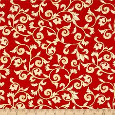 Noel Metallic Scroll Red/Cream from @fabricdotcom  Designed by Greta Lynn for Kanvas in association with Benartex, this cotton print is perfect for quilting, apparel and home decor accents. Colors include red and cream with gold metallic accents.