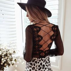 Lace up details are essential || Shop the Flashdance Top in Black! Order over St Patty's for the chance to WIN a $100 mura voucher!! See our website for details    SHOP NEW --> www.muraboutique.com.au  #muraboutique #fashion #style #lace #back #hat #festival #top #party #sexy #leopardprint