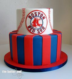 Red Sox birthday cake by The Butter End Cakery