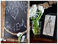 black cream French Paris baby shower chalkboard entry