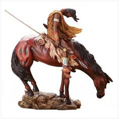 """""""End of the Trail"""" sculpture recreation. Detachable spear and feather. Alabastrite.  9 3/4"""" x 4 1/2"""" x 9 3/4"""" high. Base 6 7/8"""" x 4 3/4"""" x 3/4"""" high.  Not Indian produced, an Indian product, or the product of a particular Indian or Indian tribe or Indian arts and crafts organization."""