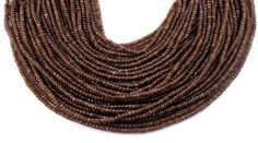 """2 Strands Brown Chalcedony Micro Faceted 3mm Rondelle Gemstone Beads 14"""" Long #luctsa"""