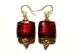 Red Foil Lamp Work Glass Earrings by StaggsLane on Etsy, $17.00