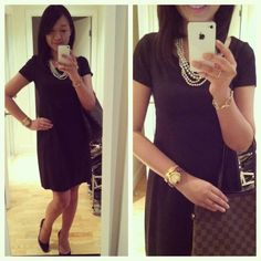 Linen Theory dress, Louis Vuitton Neverfull, J.Crew faux 4 strand pearls, Banana Republic horsebit bracelet, Hermes Clic H bangle, rose gold Toywatch, Forever21 gold tone ring, Louboutin simple 100 pumps.